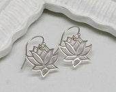 Silver Lotus Earrings ,Sterling Silver, Blooming Flower, Yoga, Zen, Open Works, Yoga Earrings, Yoga Jewelry