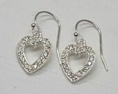 Silver Heart Cubic Zirconia Earrings, Sterling Silver Clear CZ Crystal Hearts