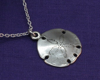 Silver Sand Dollar Necklace, Sterling Silver Sanddollar,Ocean,Sea,Sand,Water,Gifts for her,Under 25