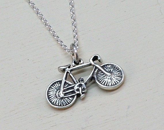 Silver Bike Necklace, Sterling Silver, Bicycle