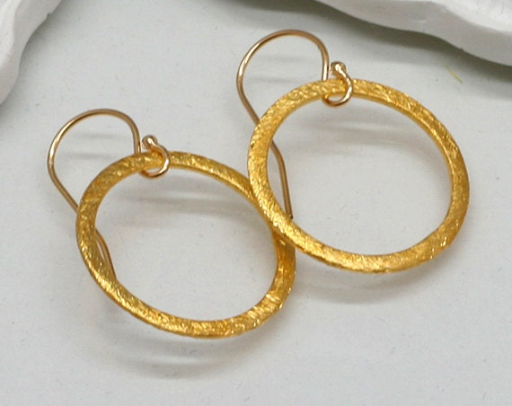 Gold Circle Earrings, Gold Vermeil Brushed Circle Earrings, Eternity Circle