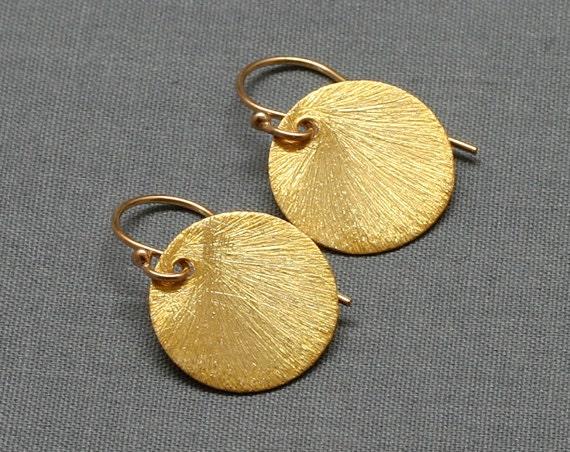 Gold Round Brushed Disc Earrings, 24K Gold Vermeil, 14K Gold-Filled, Sun Drop Earrings,Circle Earrings