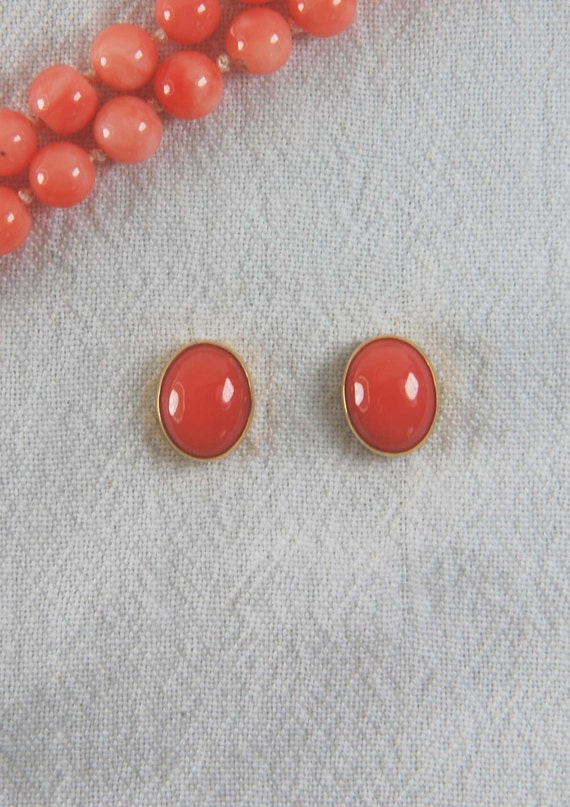 14K Gold Post Earrings with Coral, romantic gift ideas, gifts for her, Easter jewelry, Mother's Day gifts, evening wear