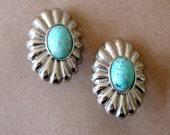80s southwestern earrings / turquoise and silver vintage earrings