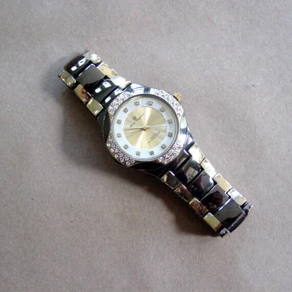 vintage oversize watch / 1980s Charles Raymond black, gold, rhinestone watch
