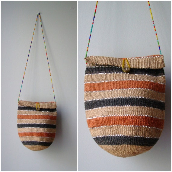 80s woven straw purse / vintage beaded and straw native bag
