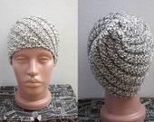 hand knitted cream white brown wool beret beanie hat
