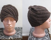 hand knitted brown blue navy wool beanie beret hat