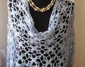 blue light blue cotton crochet rectangular shawl scarf stole clothing
