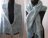 hand knitted blue green turquoise white pink fuchsia mixed multicolor shawl stole scarf with fringes