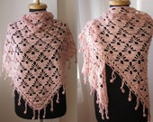 handmade crochet powder pink metallic payette sequin shawl stole scarf