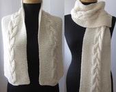 hand knitted white cream ecru scarf neckwarmer