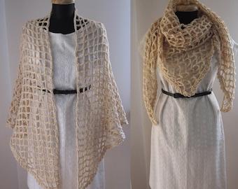 ecru wool blend crochet shawl scarf stole