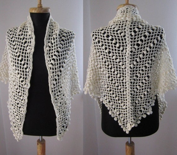 white wool crochet shawl stole scarf clothing