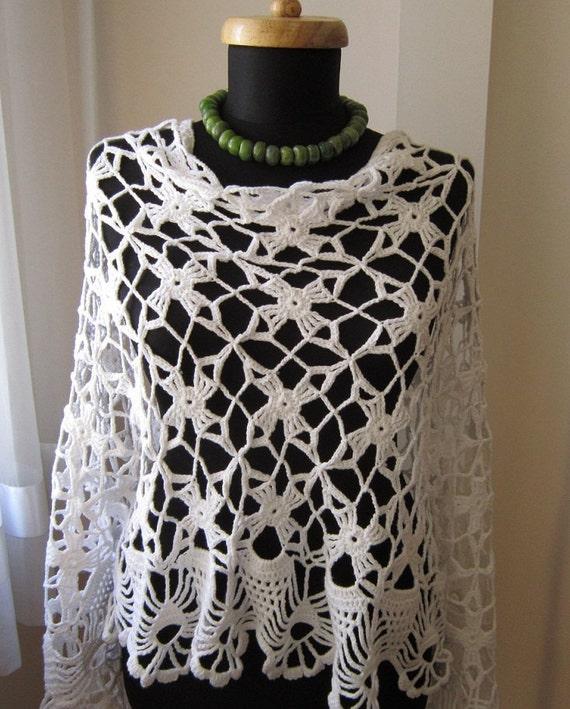 white cotton crochet rectangular shawl scarf stole clothing