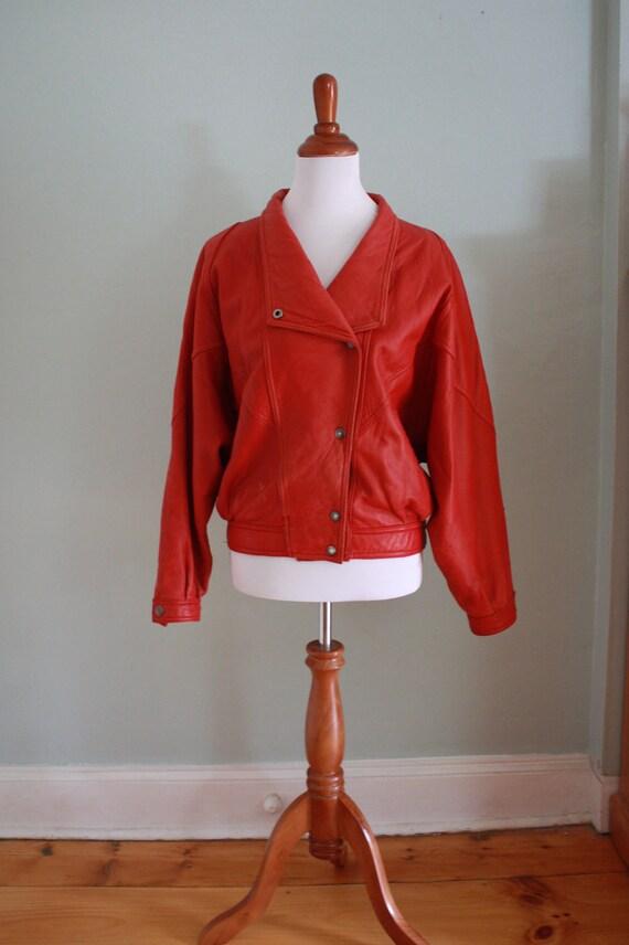 Vintage Cherry Red Leather Punk Bomber Jacket