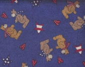Reserved for Yvette, 3.75 Yards, Bear Fabric, Bears Patriotic Fabric, Blue Fabric