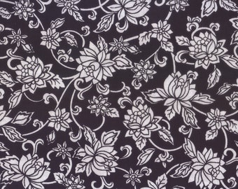 SALE, Floral Fabric, Black and White Floral Fabric, Black Fabric, 1 yard Fabric, 00031