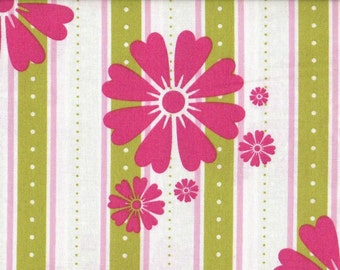Floral Fabric, Stripes Fabric, Pink and Lime Green Floral Fabric, In The Meadow, Quilting Treasures, 1 yard Fabric