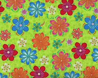 Fat Quarter, Flowers, Lime Green Fabric, Floral Fabric, Serafina by Blank Quilting, Flower Fabric, 00508
