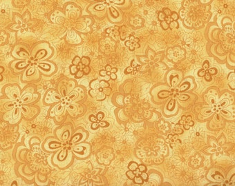 Butterflies, Yellow Floral Fabric, Yellow Fabric, Isadora by Blank Quilting, Floral Fabric, 00556