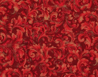 1 Fat Quarter, Christmas Fabric, Red Fabric, Gold Fabric, Floral Fabric, Holiday Dazzle