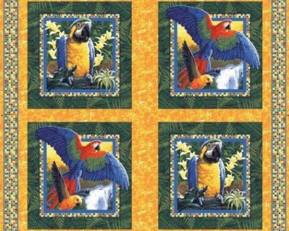 Bird Fabric Panel Parrot Fabric Bird Fabric