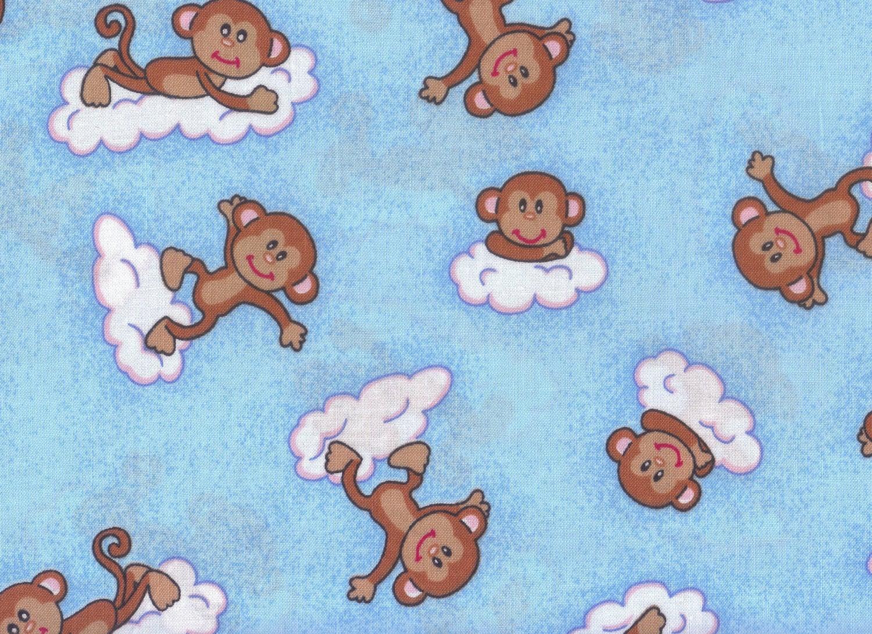 Cloud play blue fabric monkey fabric boy fabric cloud for Baby monkey fabric prints