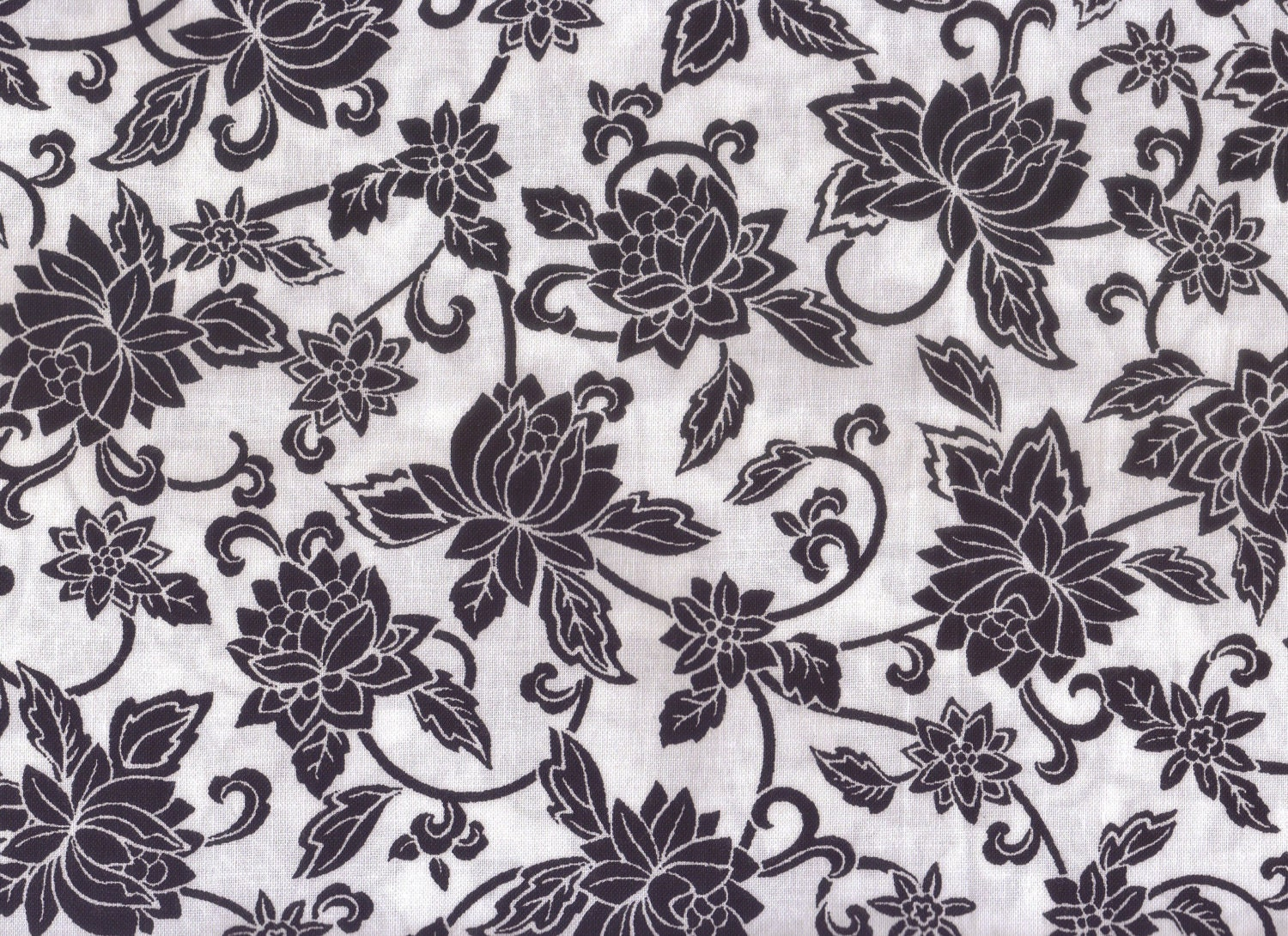 Floral Fabric Black and White Floral Fabric 1 yard Fabric
