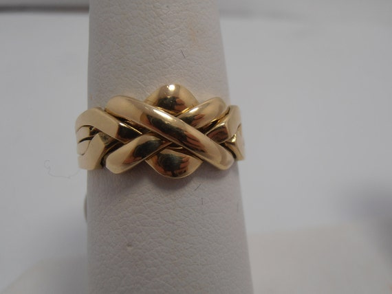14KT Gold Turkish Puzzle Ring Wedding Ring 10mm Wide By Gems4borth