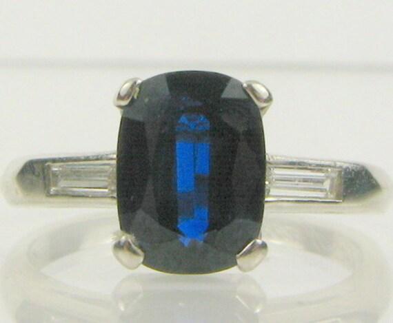 SALE   Art Deco 1.5ct Cushion Cut Blue Sapphire .25ctw Diamond Platinum Ring 3.5g