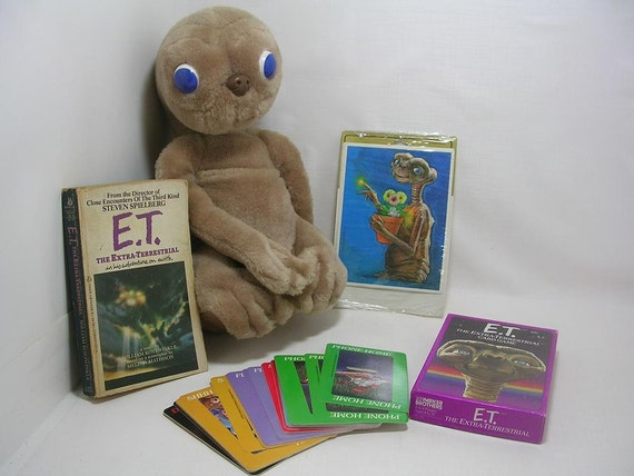 Vintage Showtime E. T. Doll  Card Game Stickers & E. T. Book