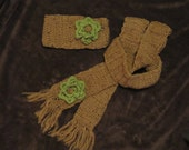 SALE Crochet scarf and ear warmer set with flower accent.