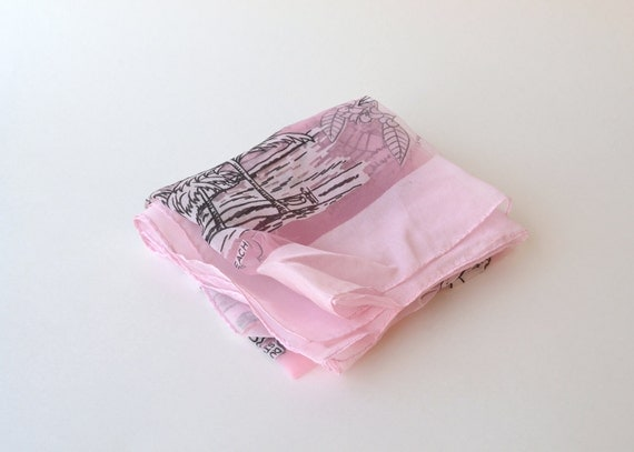 1950s frothy pink souvenir scarf