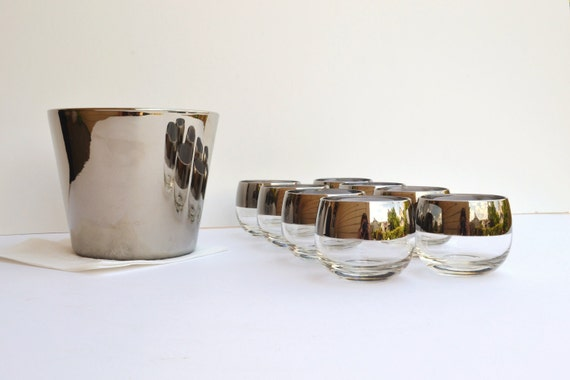Mad Men silver banded glasses and ice bucket