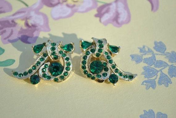 Green Rhinestone - Vintage Clip Earrings
