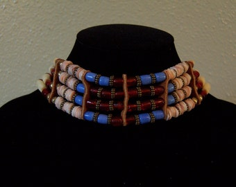 Heishi Shell & Glass Tile Bead Choker Necklace