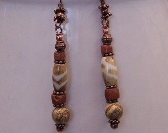Picture Jasper Pipe Stone Bone and Copper Earrings by PrimitiveDesignsTX