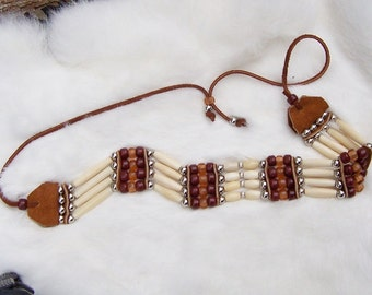 Brown Crow Bead and Bone Hair Pipe Choker by PrimitiveDesignsTX