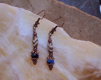 Bone Hairpipe Czech Glass Beads and Copper Earrings by PrimitiveDesignsTX
