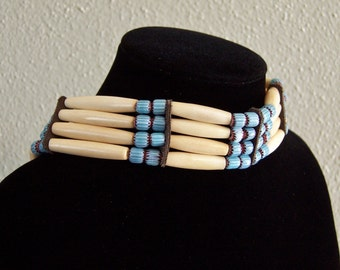 Light Blue Chevron and Bone Bead Choker by PrimitiveDesignsTX