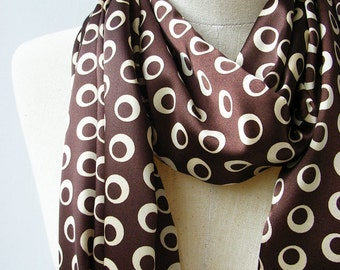 CLEARANCE SALE Brown and Cream Dot Print Silky Satin Loop Infinity Circle Scarf