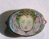 Original Art Pin Angel of Peace Baby Angel