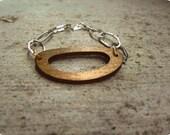 Wood Metal Chain Link Bracelet Brown Silver