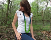 Braided Knitted Necklace Bright Green Turqoise Long Yarn I-Cord Necklace