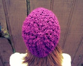 Knitted Slouchy Hat Purple Womens Beanie Plum