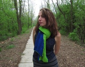 Unisex Scarf Chunky Knitted Long Blue Bright Green Reversable Scarf