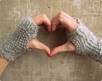 Fingerless Gloves - Grey - Short Women's Gloves - Knitted Fingerless Gloves - Gray Gloves
