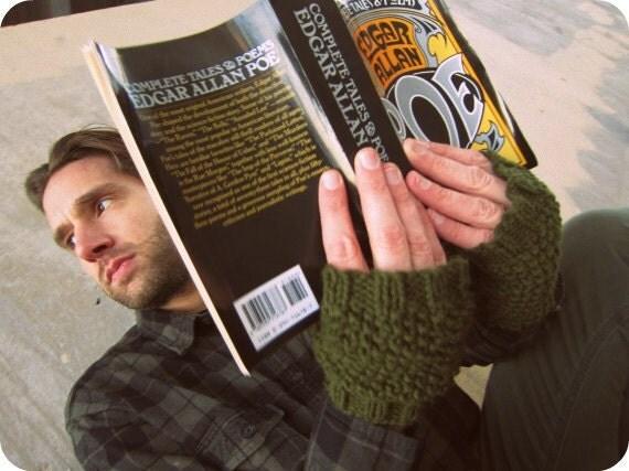 Mens Gloves Guys Hand Wamers Knit Mittens Knitted Hobo Gloves Green Fingerless Mitts Unisex