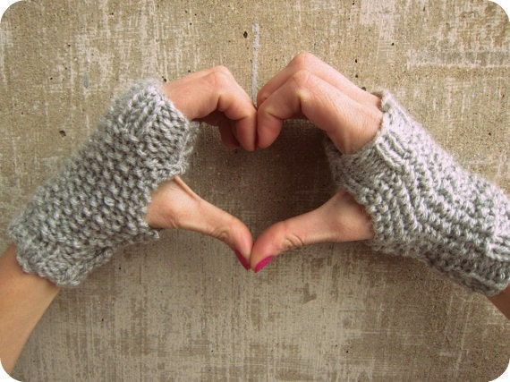 Fingerless Gloves - Grey - Short Women's Gloves - Knitted Fingerless Gloves - Gray Gloves